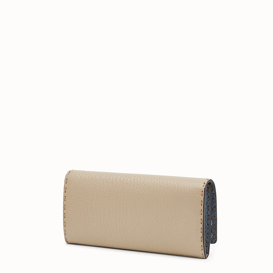 FENDI CONTINENTAL - Light blue and beige Selleria continental wallet - view 2 detail