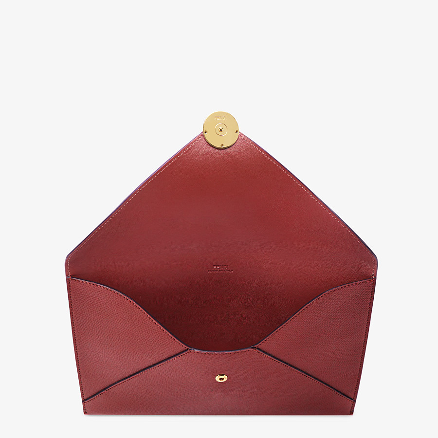 FENDI FLAT POUCH LARGE - Burgundy leather pouch - view 3 detail
