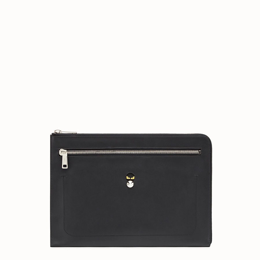FENDI CLUTCH - Smooth black leather pouch - view 1 detail