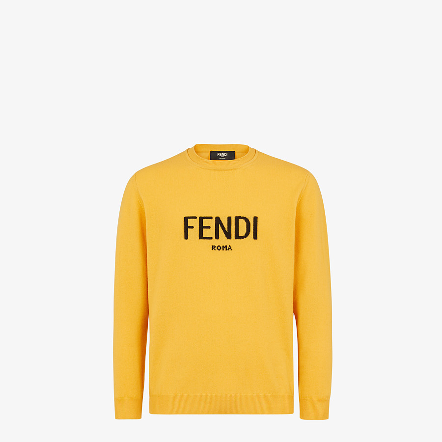 FENDI SWEATER - Yellow cashmere sweater - view 1 detail