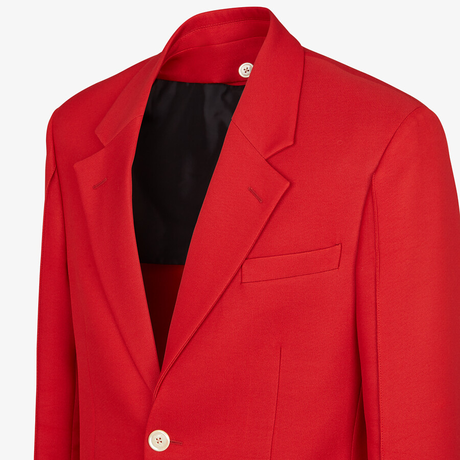 FENDI JACKET - Red wool jacket - view 4 detail