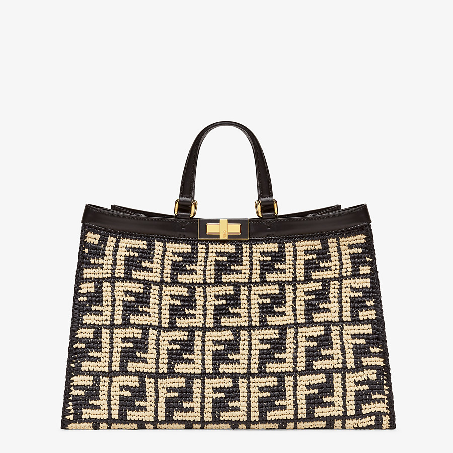 FENDI PEEKABOO X-TOTE - Black FF raffia bag - view 1 detail