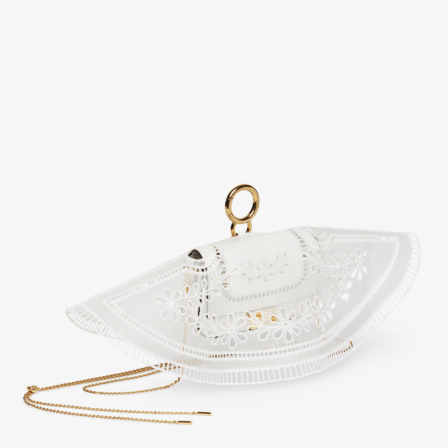 FENDI NANO BAGUETTE CHARM - White leather charm - view 2 detail