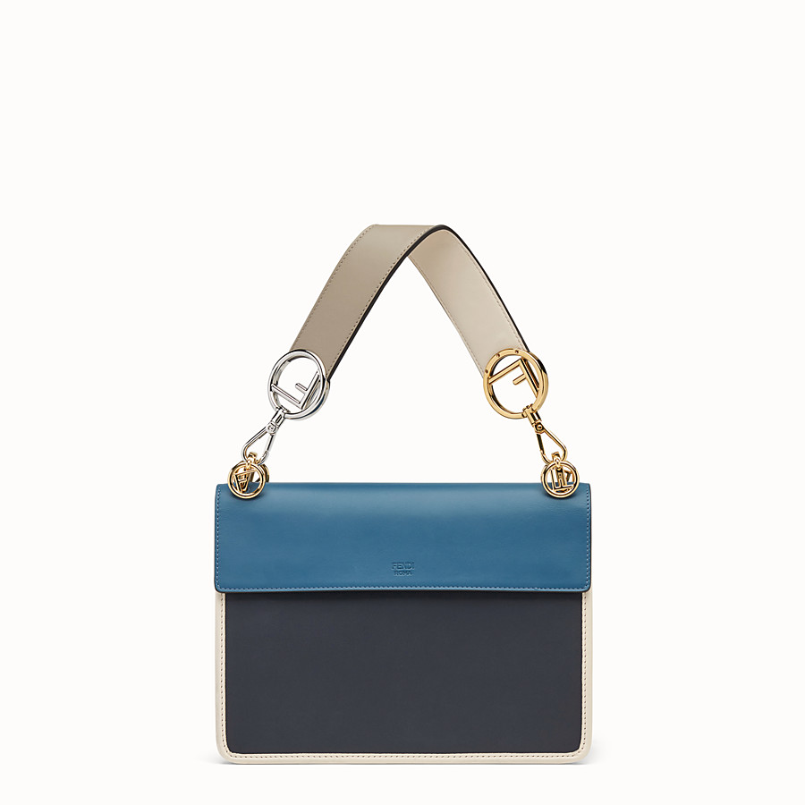 FENDI KAN I LOGO - Blue leather bag - view 3 detail