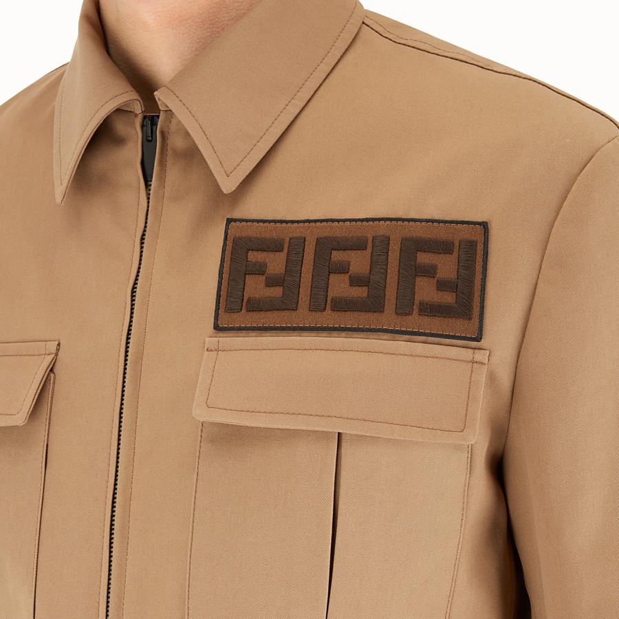 FENDI JACKET - Brown gabardine jacket - view 3 detail