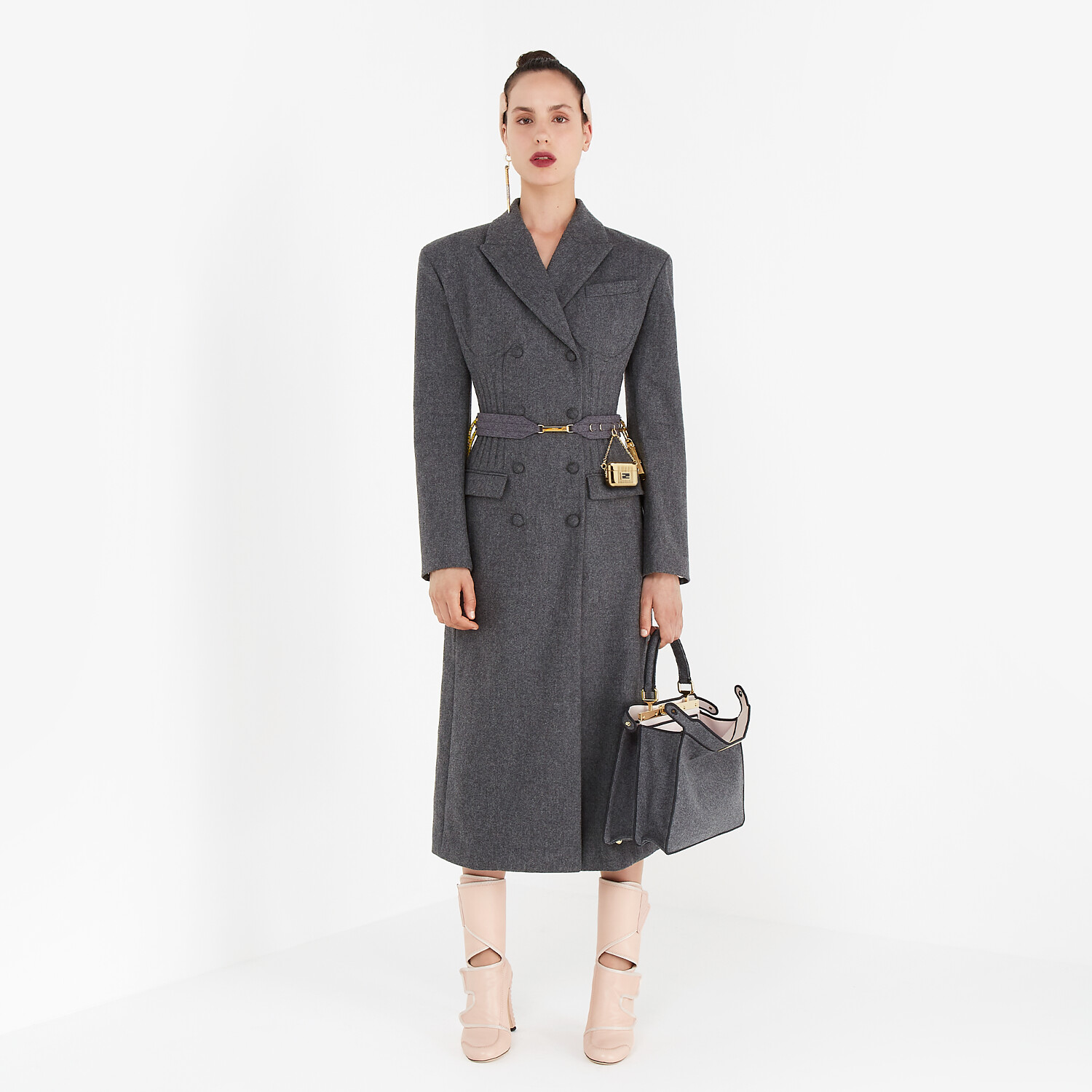 FENDI COAT - Grey cashmere coat - view 4 detail