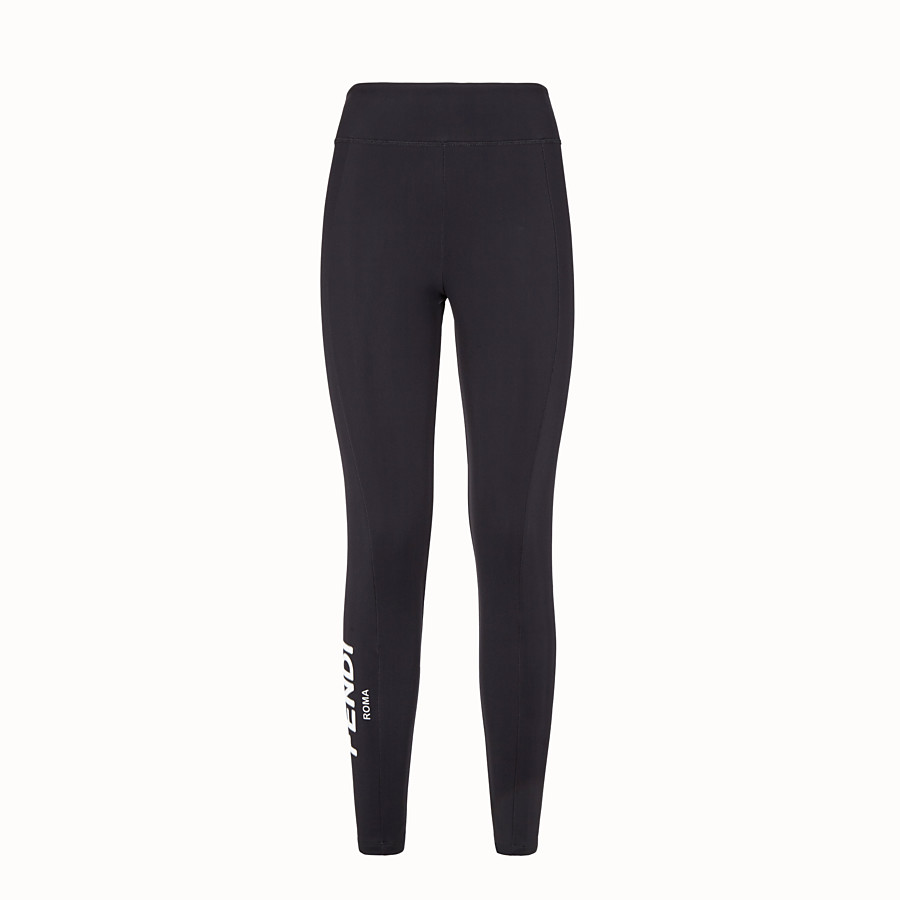 FENDI TROUSERS - Black tech jersey leggings - view 1 detail