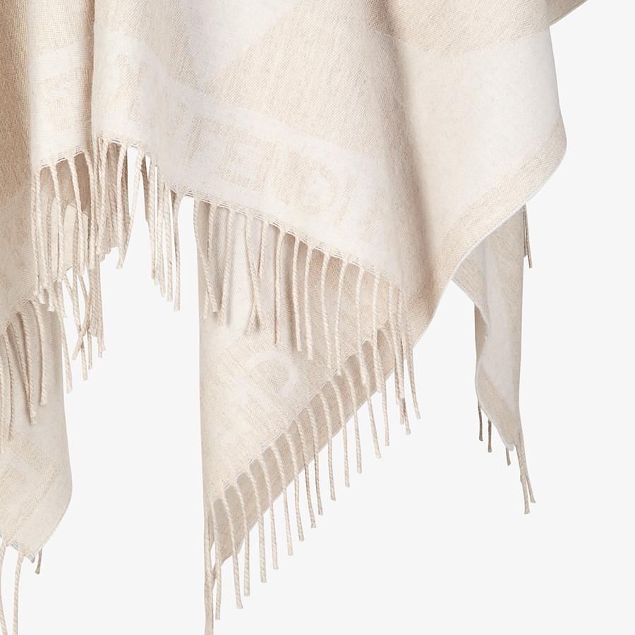 FENDI TOUCH OF FUR PONCHO - White wool poncho - view 3 detail