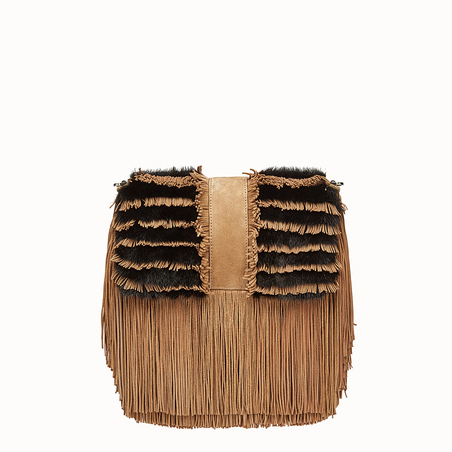 FENDI BAGUETTE - Beige suede and mink bag - view 3 detail