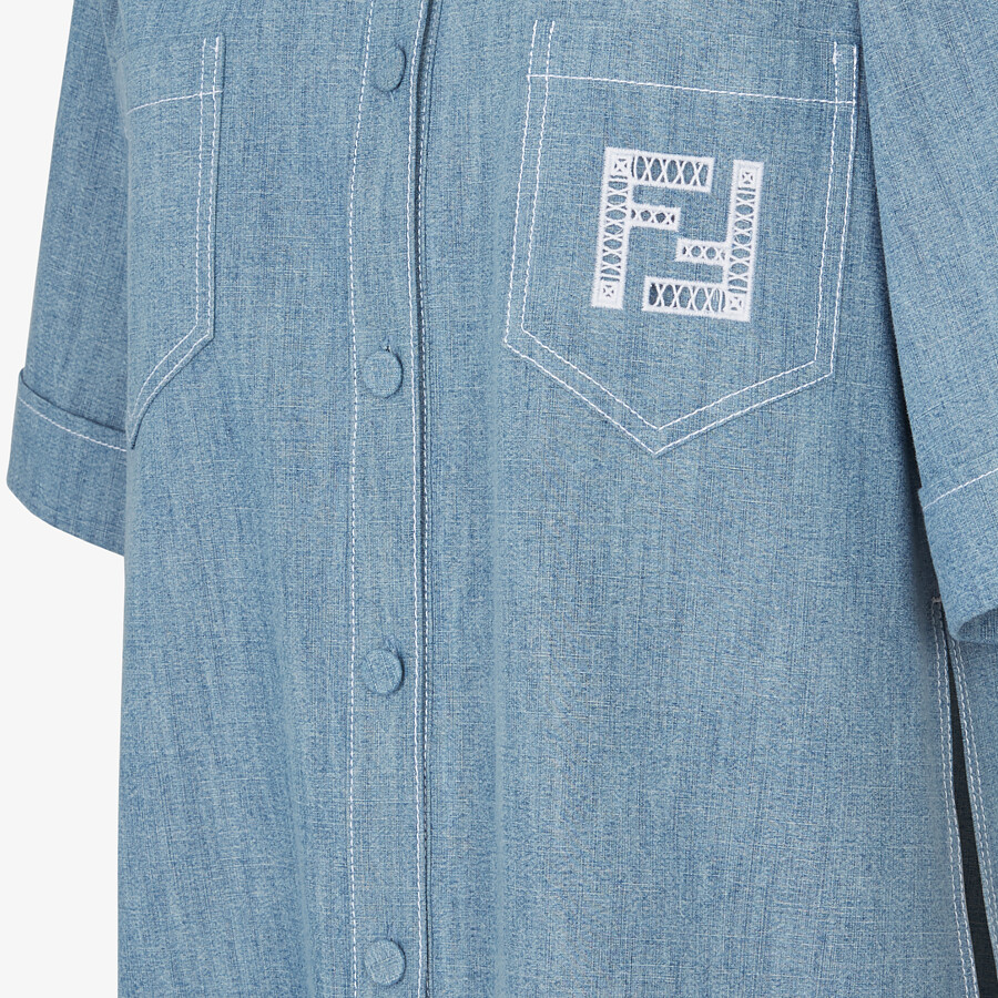 FENDI SHIRT - Light blue chambray shirt - view 3 detail