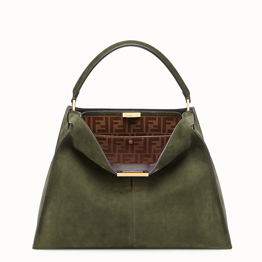 FENDI PEEKABOO X-LITE - Green suede bag - view 2 detail