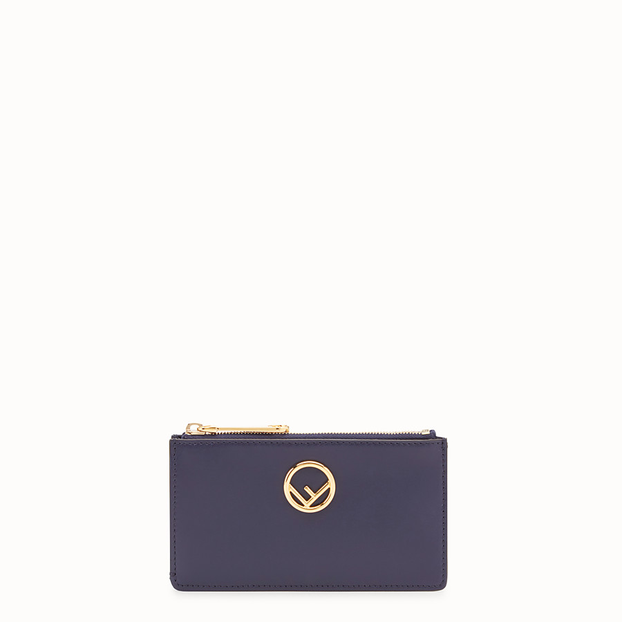 FENDI CARD POUCH - Blue leather pouch - view 1 detail