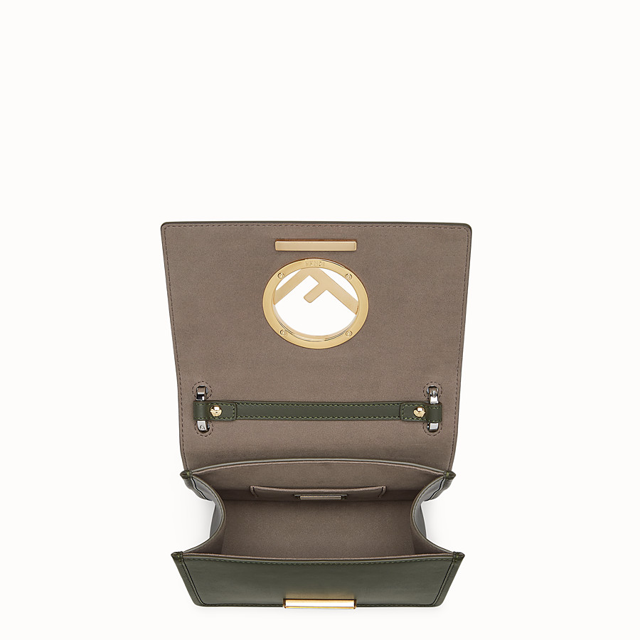 FENDI KAN I F SMALL - Green leather mini-bag with exotic details - view 4 detail