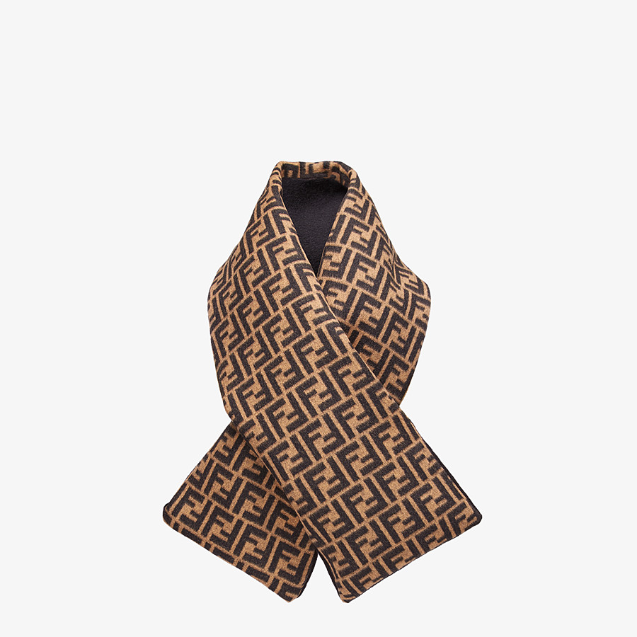 FENDI SCARF - Brown wool and cashmere scarf - view 2 detail