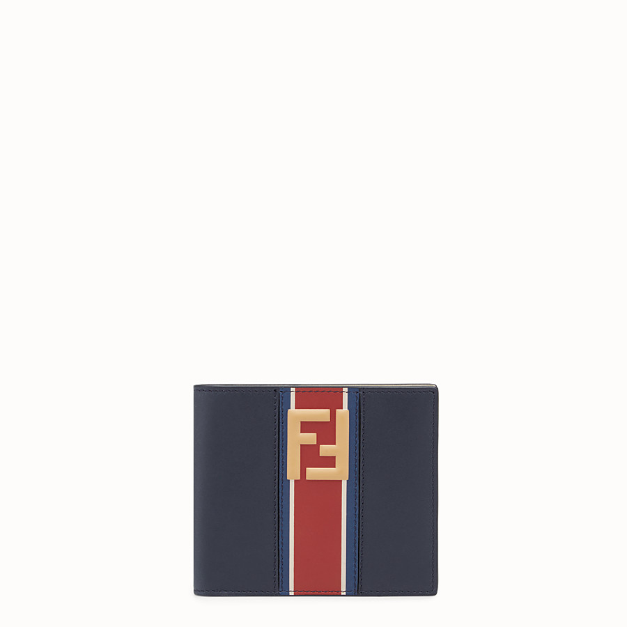 FENDI WALLET - Blue leather bi-fold - view 1 detail