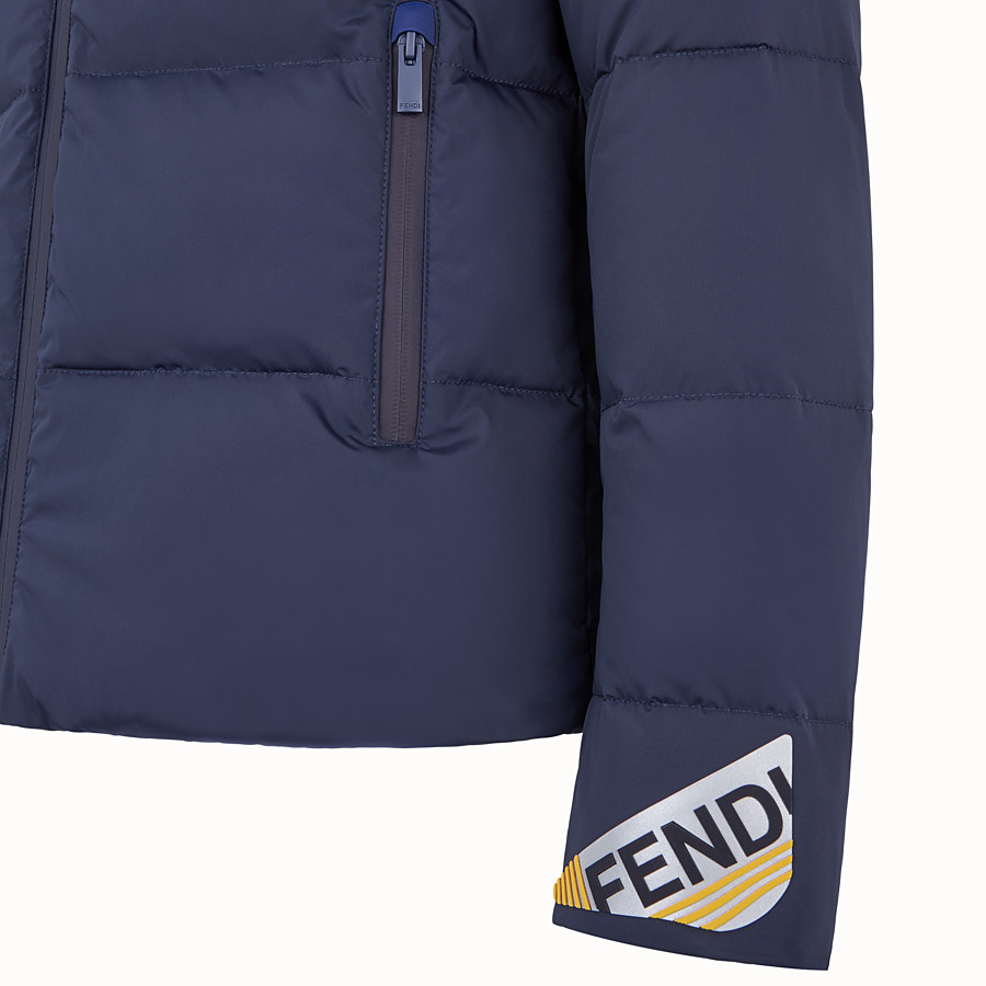 FENDI DOWN JACKET - Blue nylon down jacket - view 3 detail