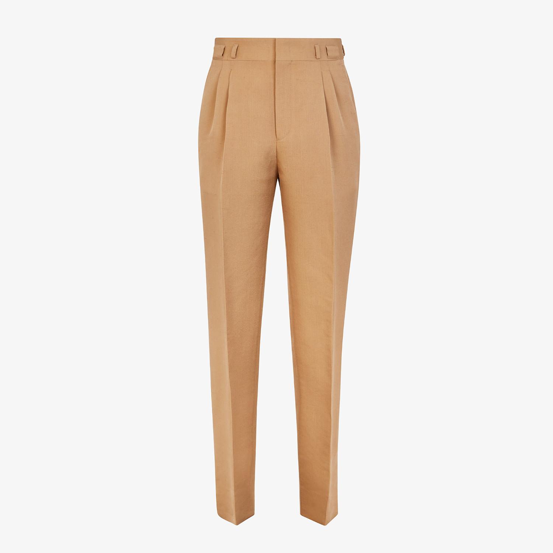 FENDI PANTS - Brown silk pants - view 1 detail
