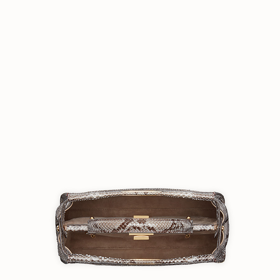 FENDI PEEKABOO REGULAR - Grey python handbag. - view 4 detail