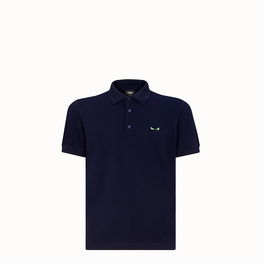FENDI POLO SHIRT - Blue piqué polo shirt - view 1 detail