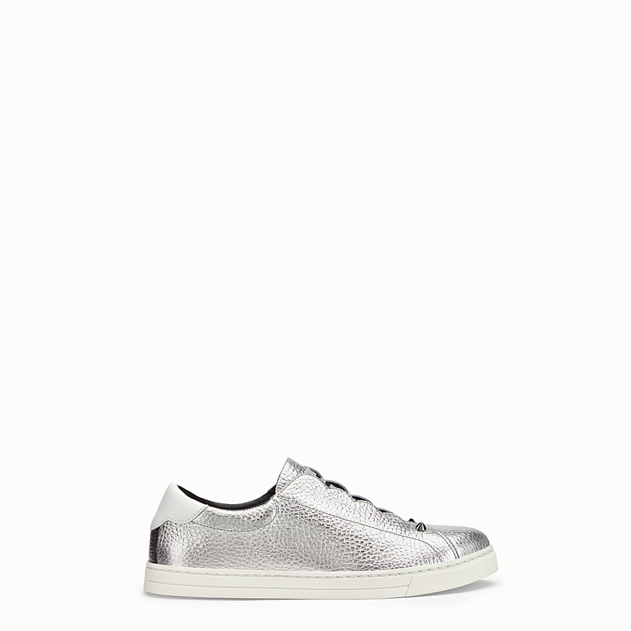 FENDI SNEAKERS - Silver leather slip-ons - view 1 detail