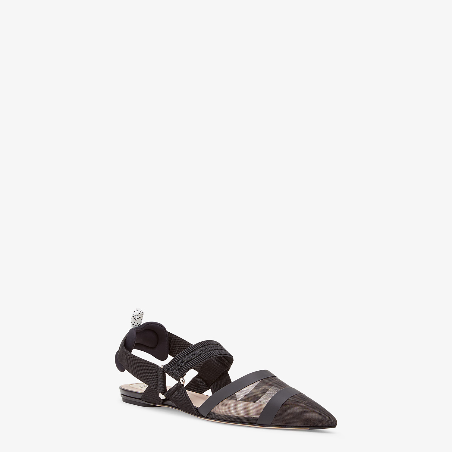 FENDI SLINGBACK - Colibrì in black leather and mesh - view 2 detail