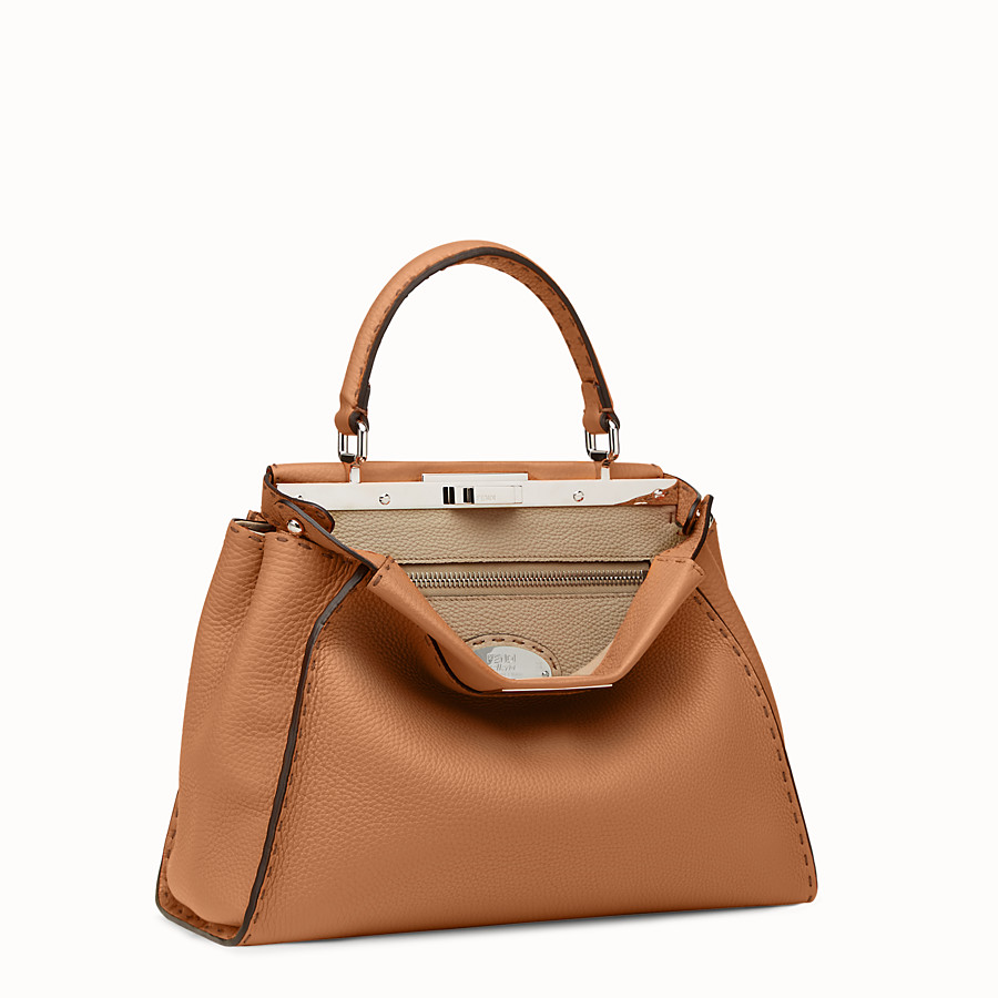 FENDI PEEKABOO REGULAR - bolso de mano de piel de color toffee - view 2 detail