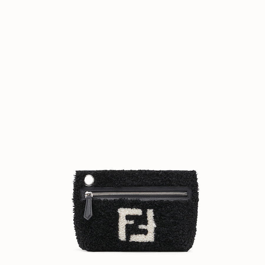 FENDI MEDIUM PYRAMID - Black shearling pouch - view 1 detail