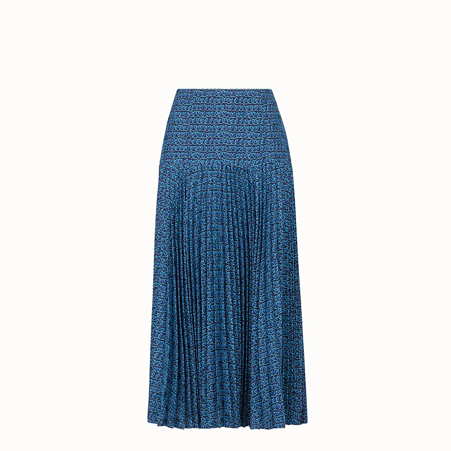 FENDI SKIRT - Blue satin skirt - view 1 detail