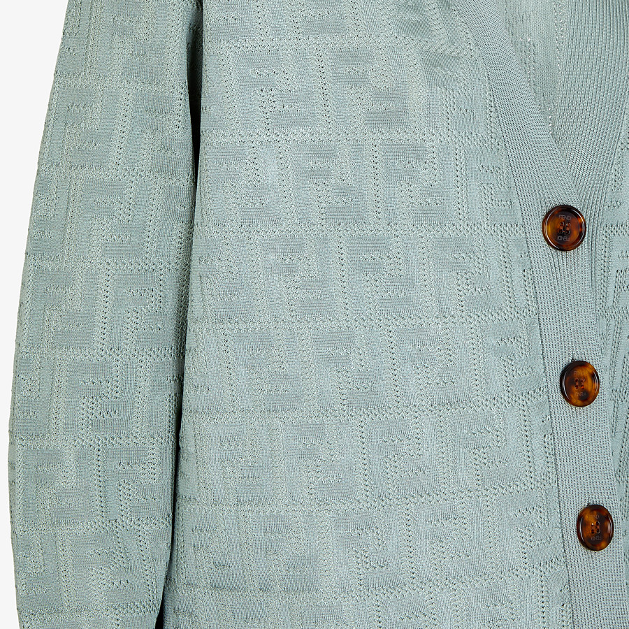 FENDI CARDIGAN - Light blue viscose and cotton cardigan - view 3 detail