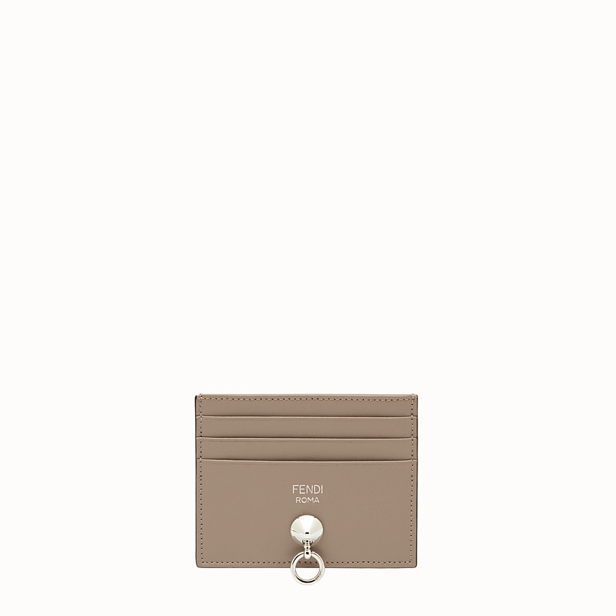 FENDI CARD HOLDER - Dove-grey leather card holder with six slots - view 1 detail