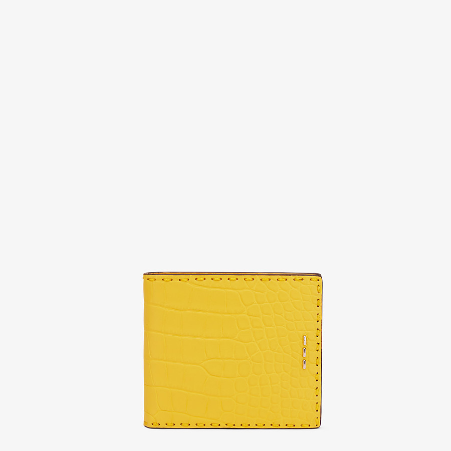 FENDI WALLET - Yellow alligator bi-fold wallet - view 1 detail