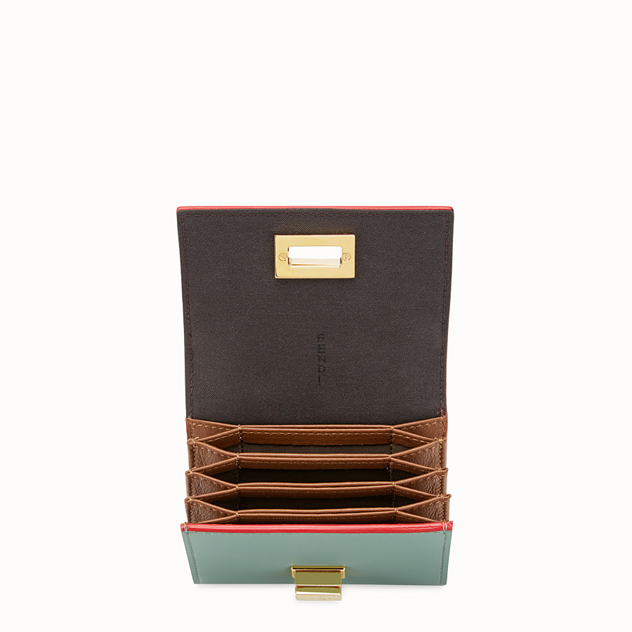 FENDI PEEKABOO CARD HOLDER - in mint green and brown leather - view 4 detail