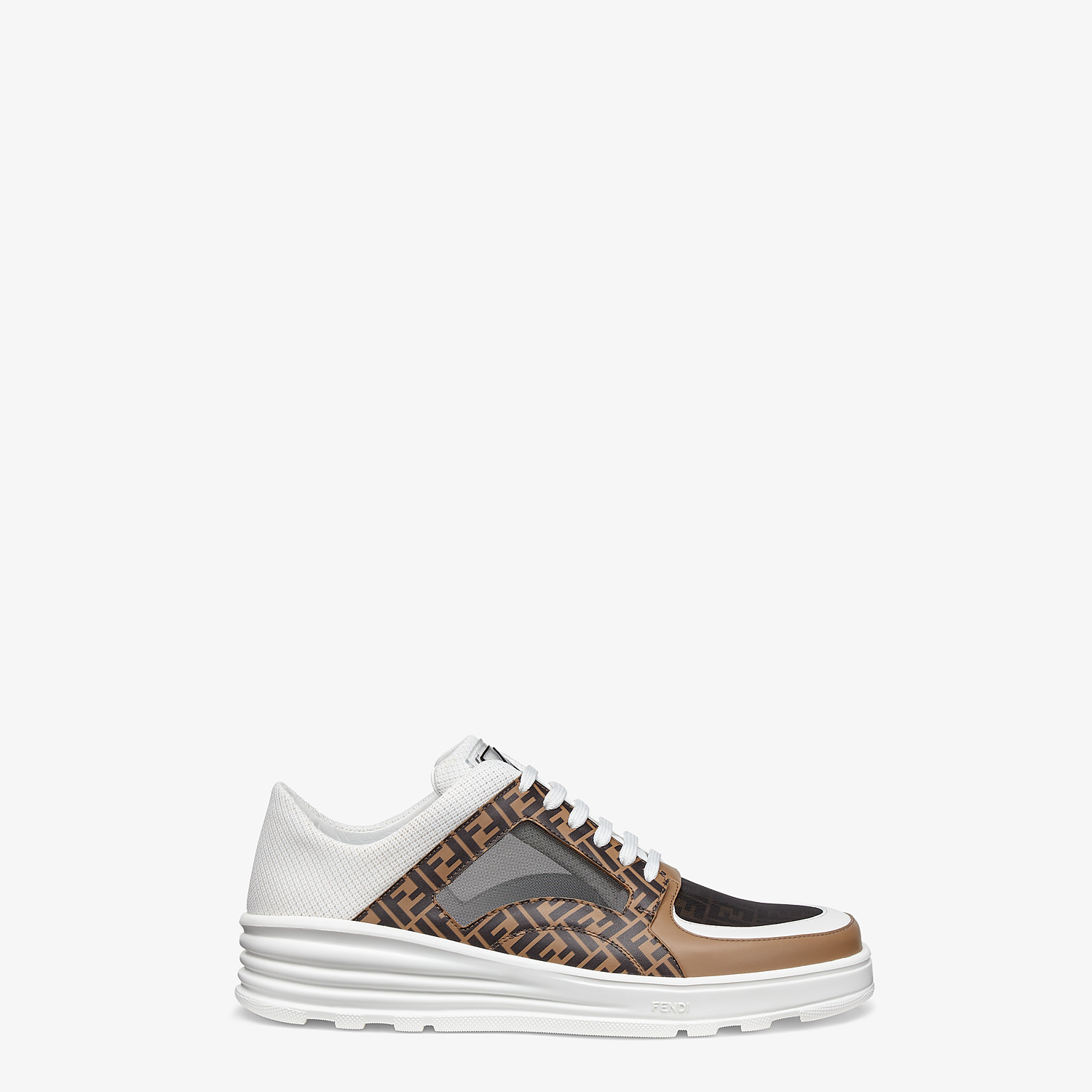 FENDI SNEAKERS - Brown leather low tops - view 1 detail