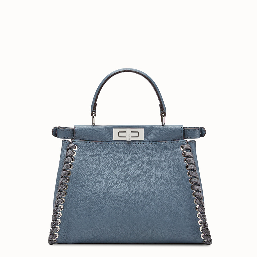 FENDI PEEKABOO REGULAR - Blue leather bag with exotic details - view 3 detail