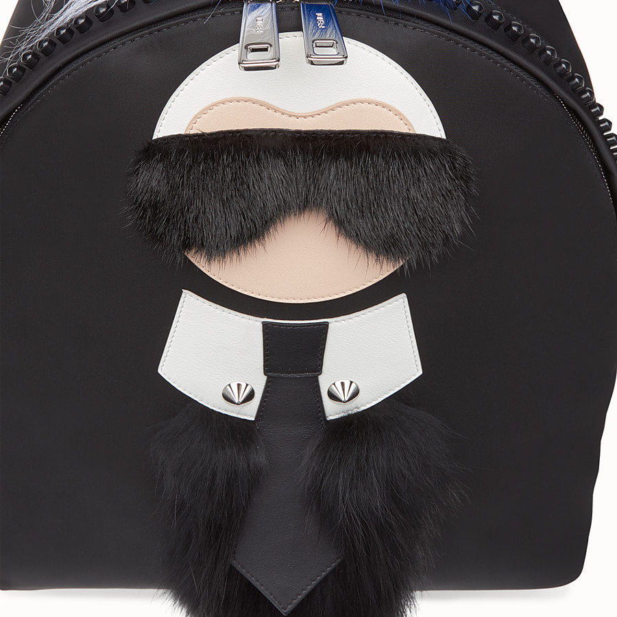 FENDI BACKPACK - in black nylon and fur - view 4 detail