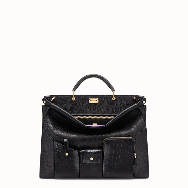 FENDI PEEKABOO ICONIC FIT - Black leather bag with exotic details - view 1 small thumbnail