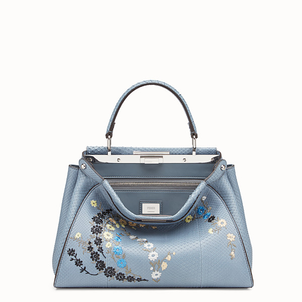 FENDI PEEKABOO REGULAR - Light blue python bag - view 1 small thumbnail