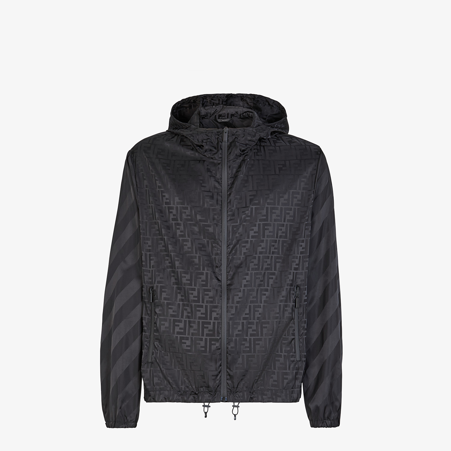 FENDI WINDBREAKER - Black nylon jacket - view 1 detail
