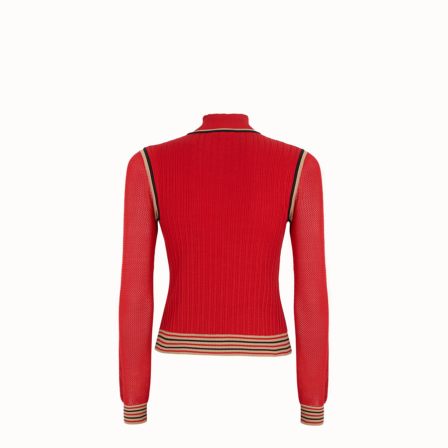 FENDI JUMPER - Red silk jumper - view 2 detail