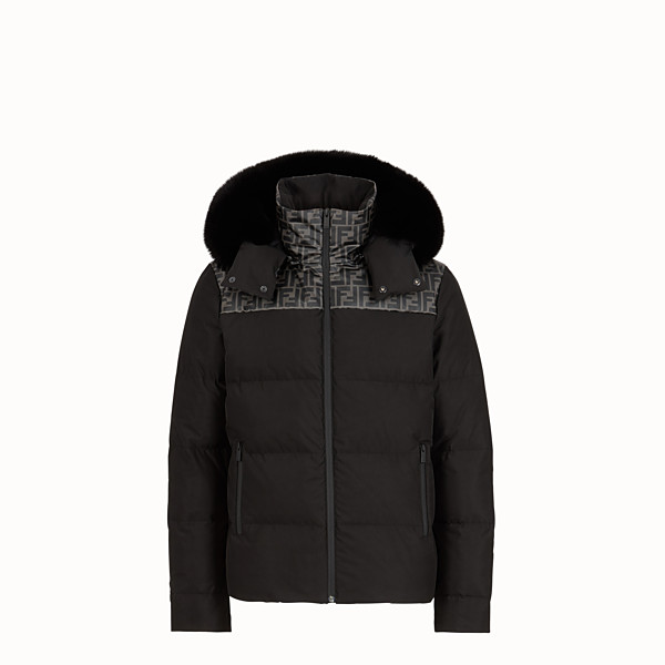 FENDI DOWN JACKET - Black nylon down jacket - view 1 small thumbnail