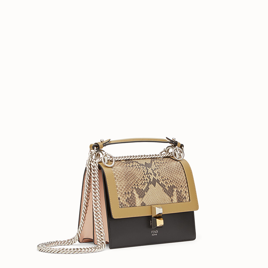 FENDI KAN I SMALL - Mini bag in two-tone leather and python - view 2 detail
