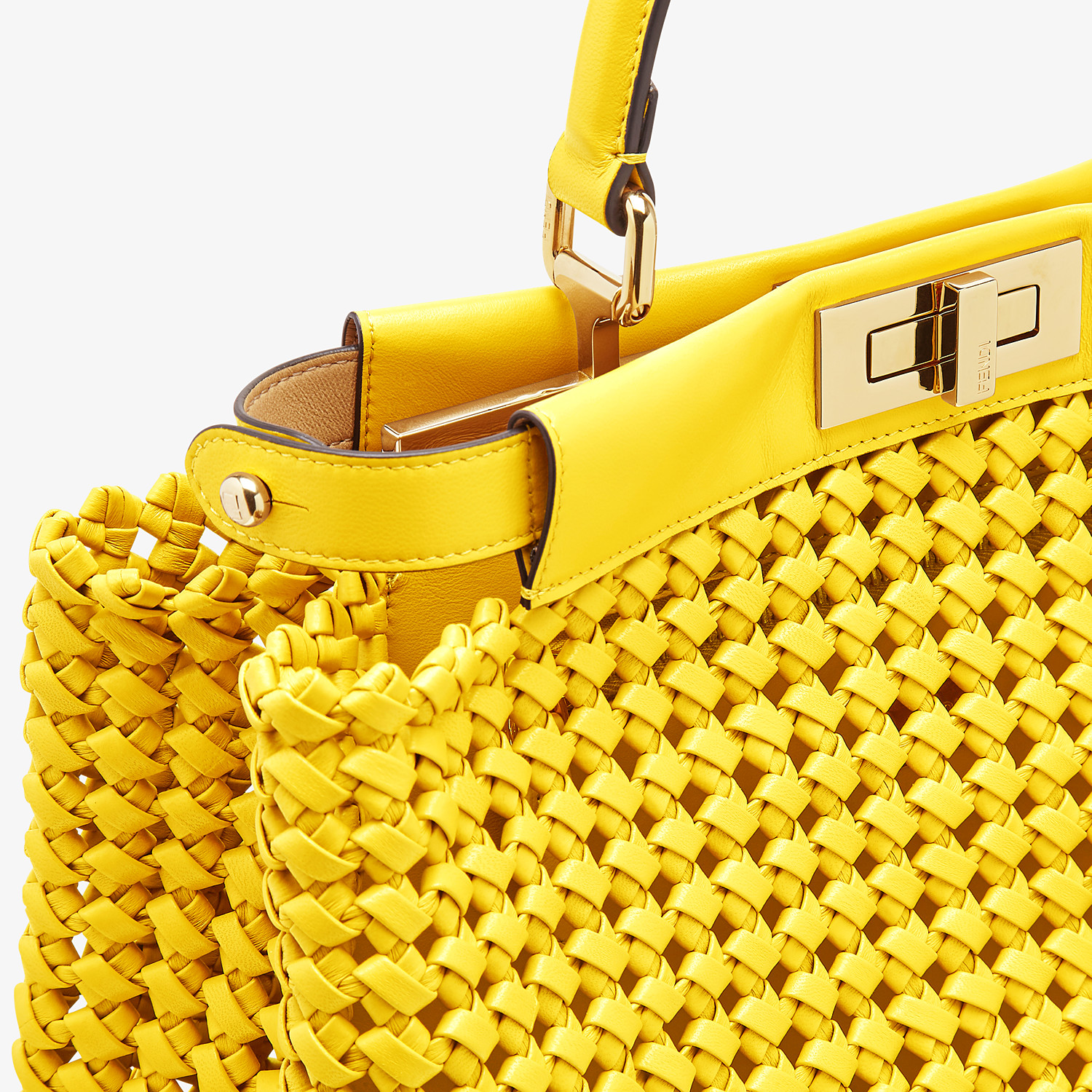 FENDI PEEKABOO ICONIC MEDIUM - Yellow leather interlace bag - view 5 detail