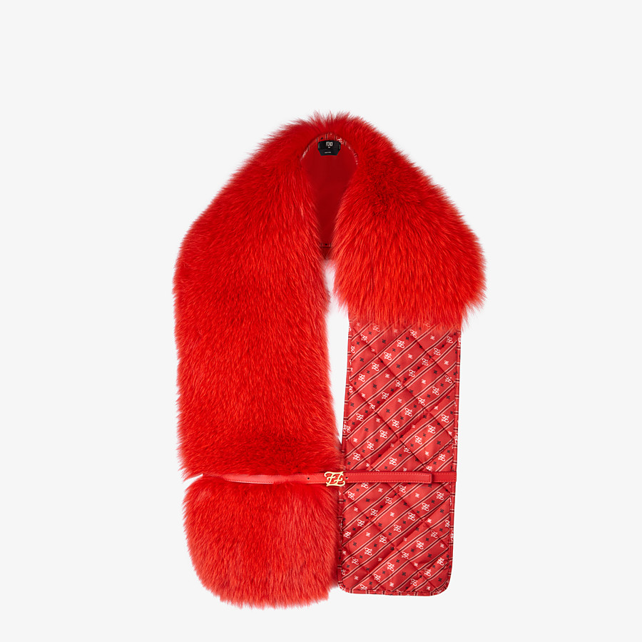FENDI STOLE - Stole in red fox fur and silk - view 2 detail