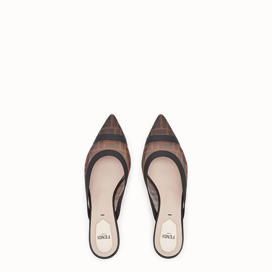 FENDI SLINGBACK - Brown mesh and black leather colibrì - view 4 detail