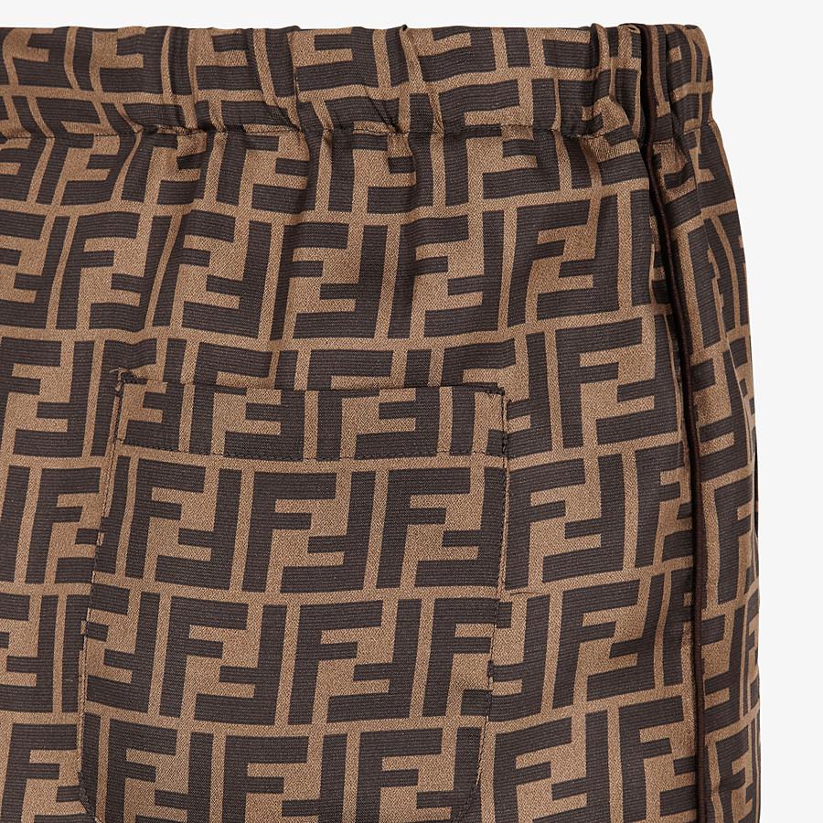 FENDI TROUSERS - Brown silk trousers - view 3 detail