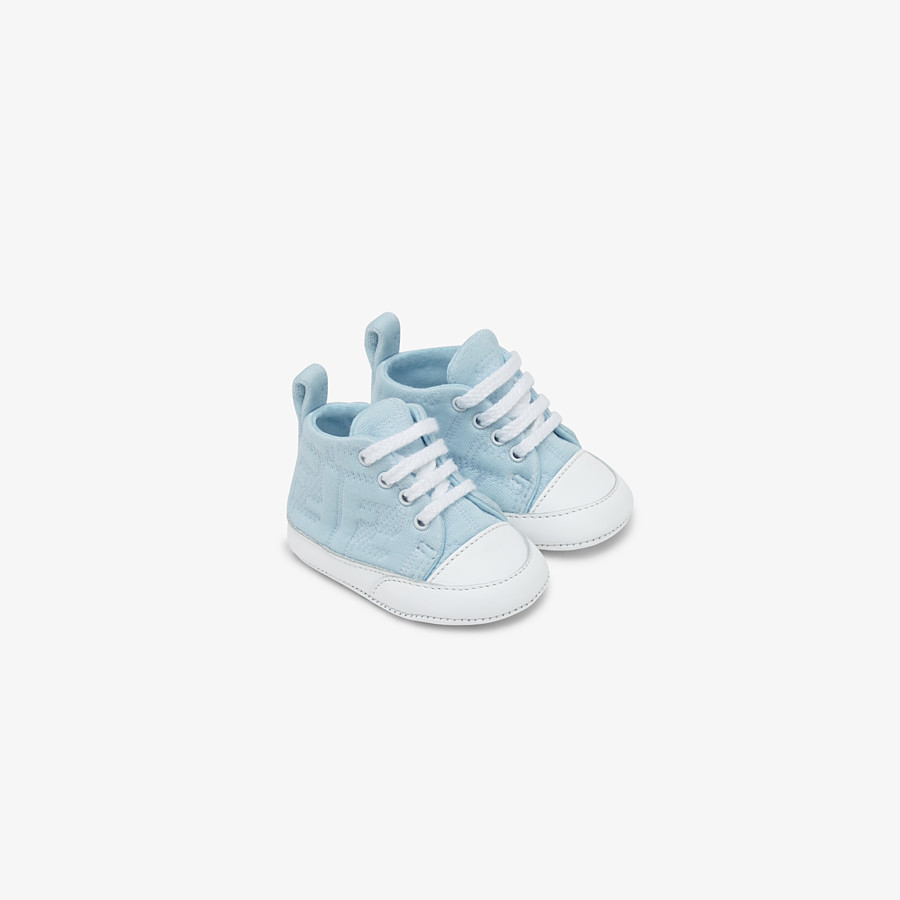 FENDI SNEAKERS - Light blue cotton baby sneakers - view 1 detail
