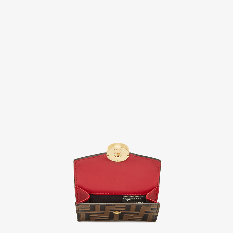 FENDI MICRO TRIFOLD - Red leather wallet - view 4 detail
