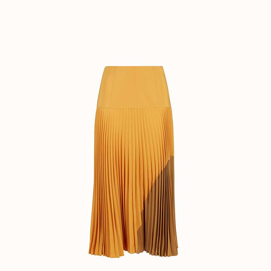 FENDI SKIRT - Orange silk skirt - view 1 detail