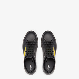 FENDI SNEAKER - Black and yellow leather low-tops - view 4 thumbnail