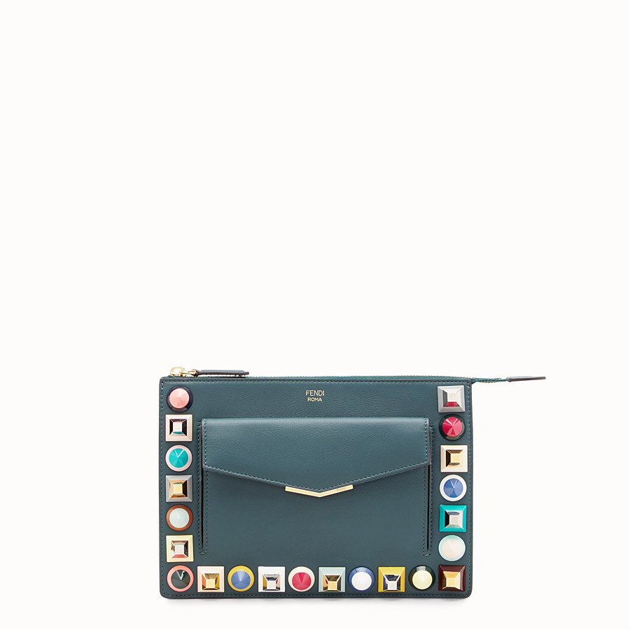 FENDI MINI POUCH - Green leather mini-bag - view 1 detail